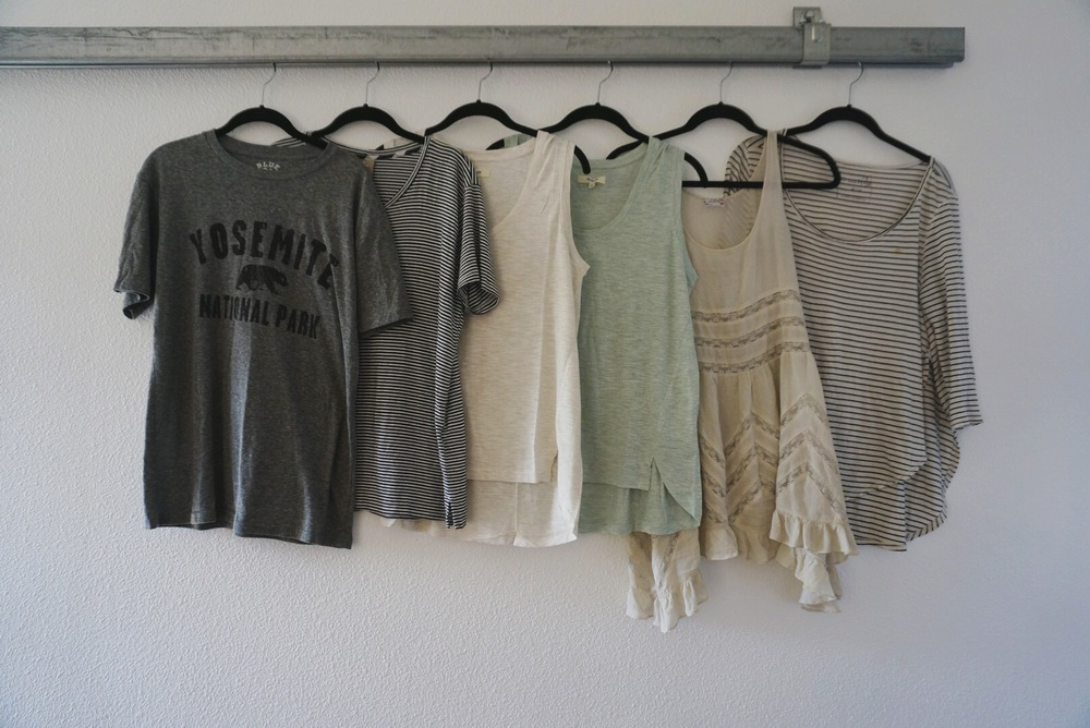 graphic tee (similar) / stripe tee (similar) / white tank / mint tank / lace slip / stripe shirt (similar)
