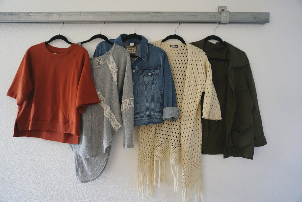 red sweatshirt / mint shirt (similar) / denim jacket / fringe cardigan (similar) / jacket (similar)