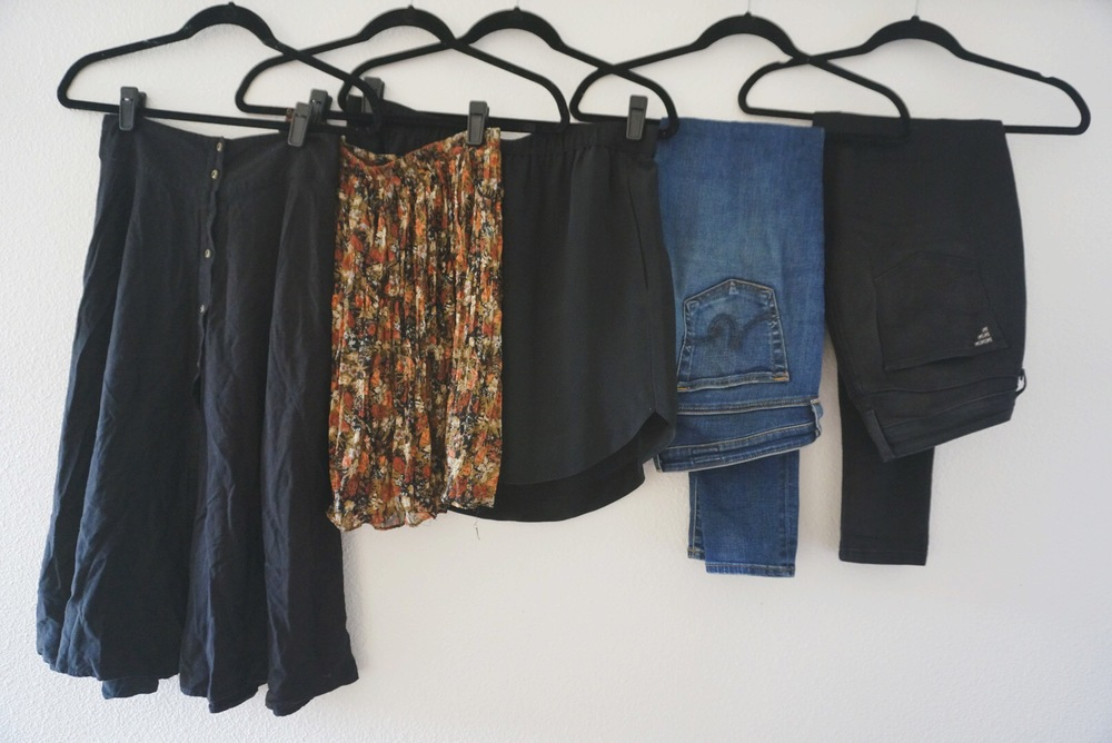 midi skirt / floral skirt (similar) / shirttail skirt / blue jeans / black jeans
