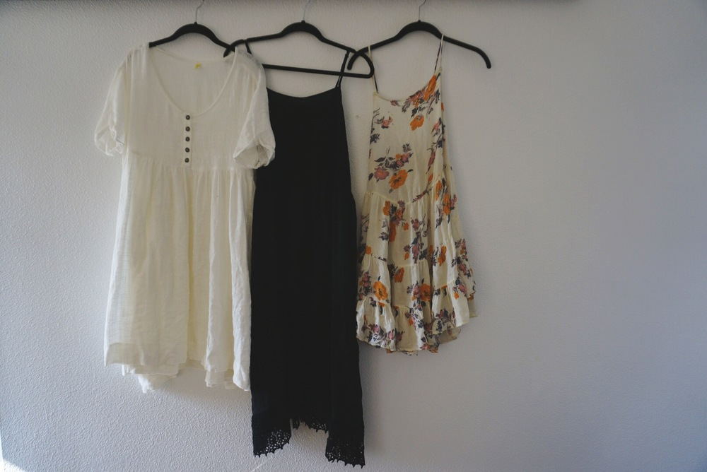 white dress / black dress / floral dress