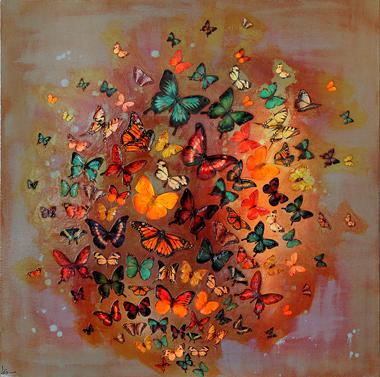 Butterflies on Heather , 76x76cm £850