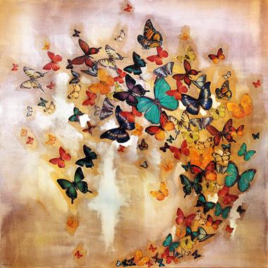Butterflies on Ochre,  76x76cm £850