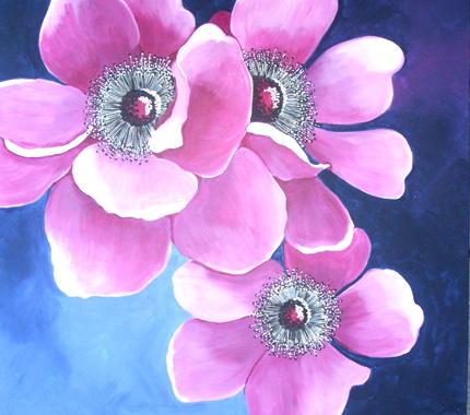 Purple Anemones , 76x76cm £175
