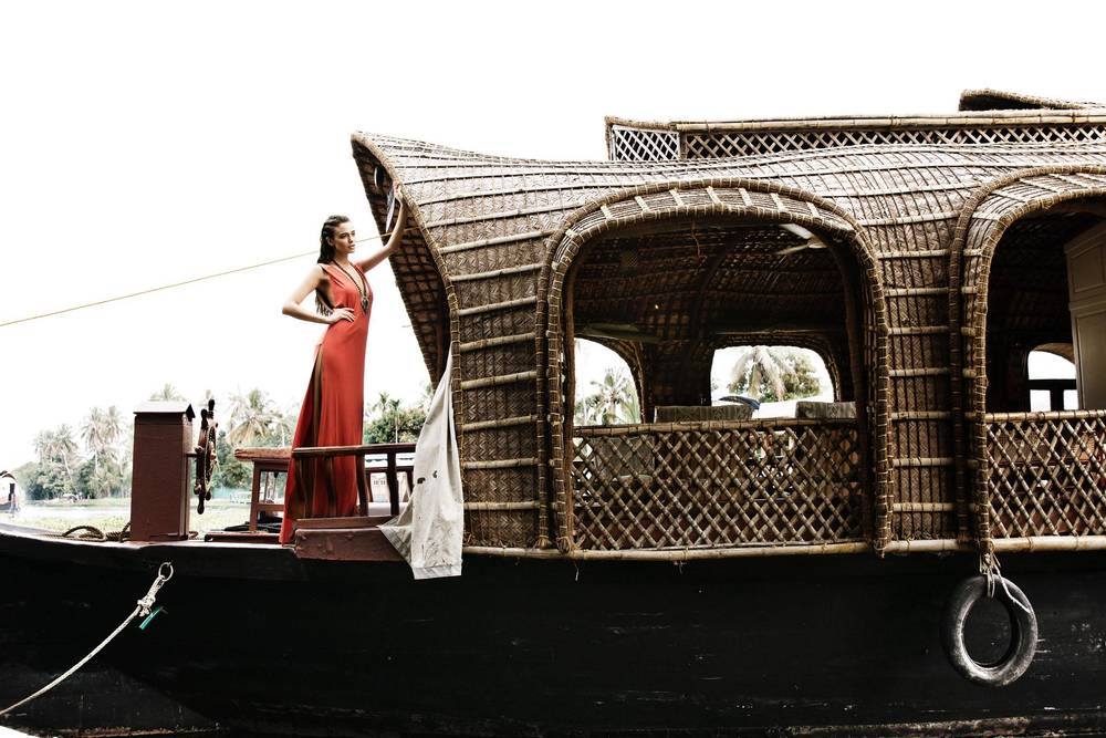 Jenny Rei on the houseboat - Kerala, India