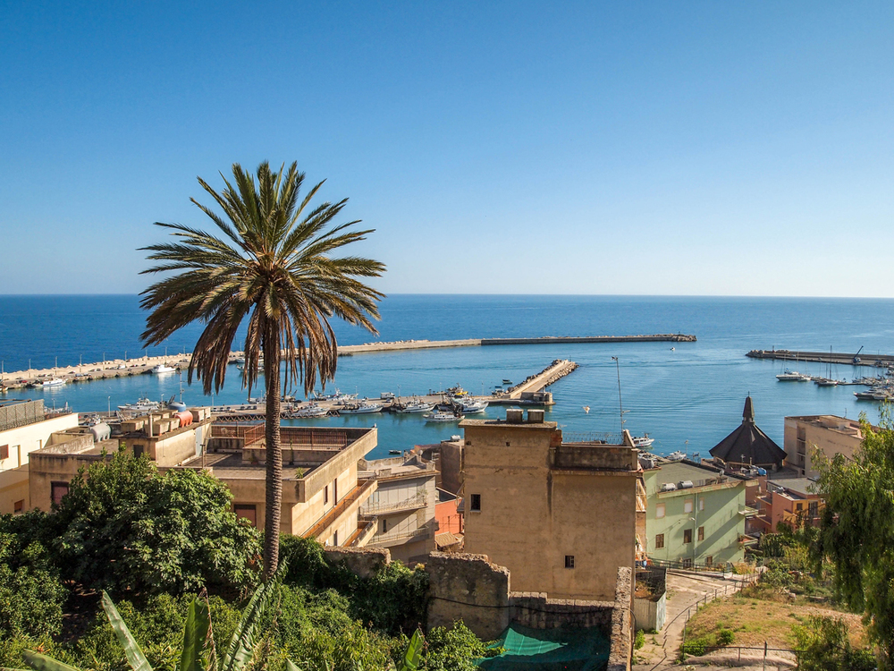 The view of the port from the main square of Sciacca