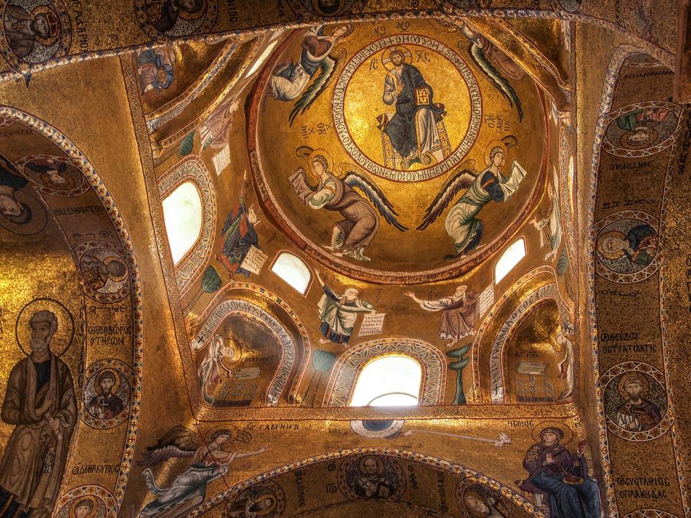 Byzantine mosaics in the interior of Chiesa della Martorana
