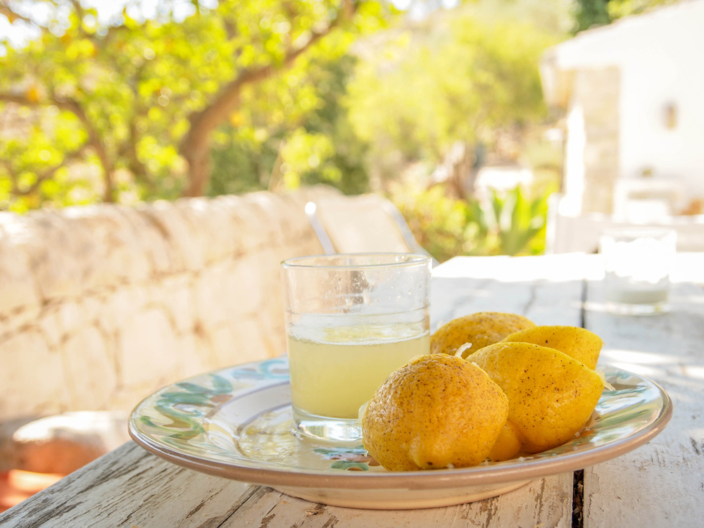 Freshly pressed lemon juice on our lovely terrace in Modica