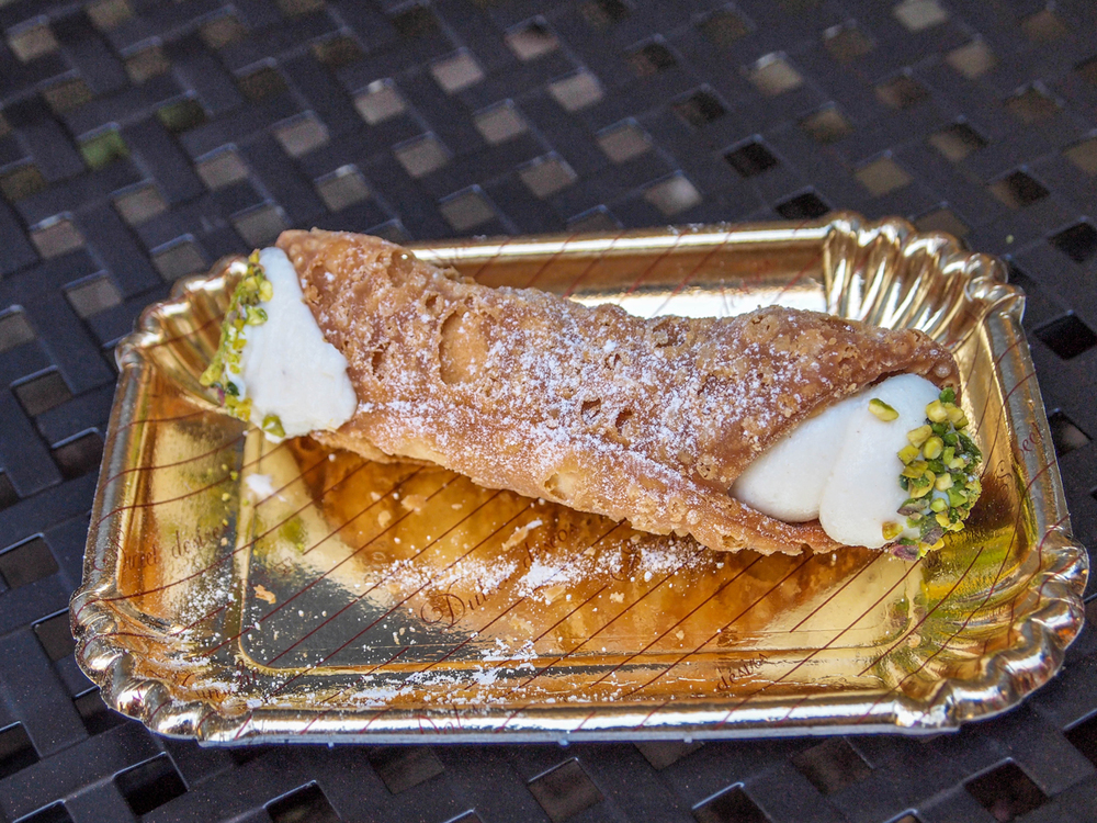 Cannoli for breakfast from Dolceria Bonajuto in Modica!