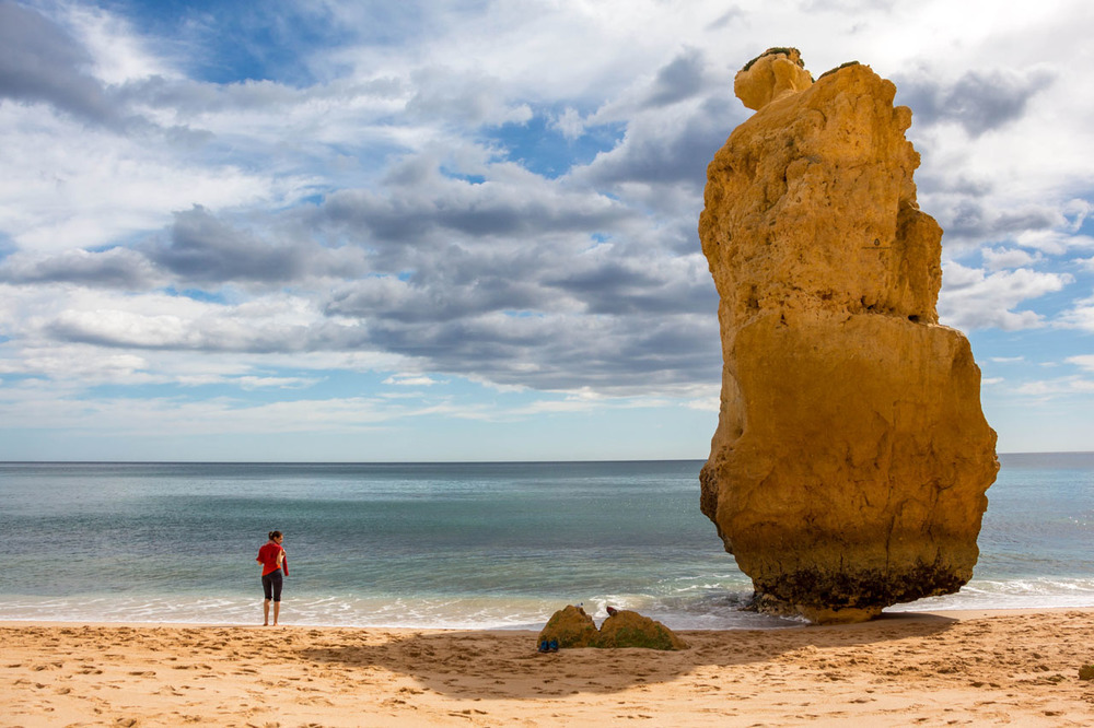 Peculiar rock formations on Praia da Marinha near Lagoa