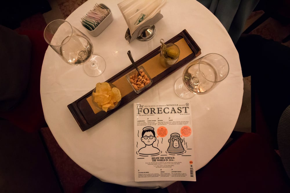 Monocle magazine on a table of another new favorite of ours- Caffe Pedrocchi in Padova