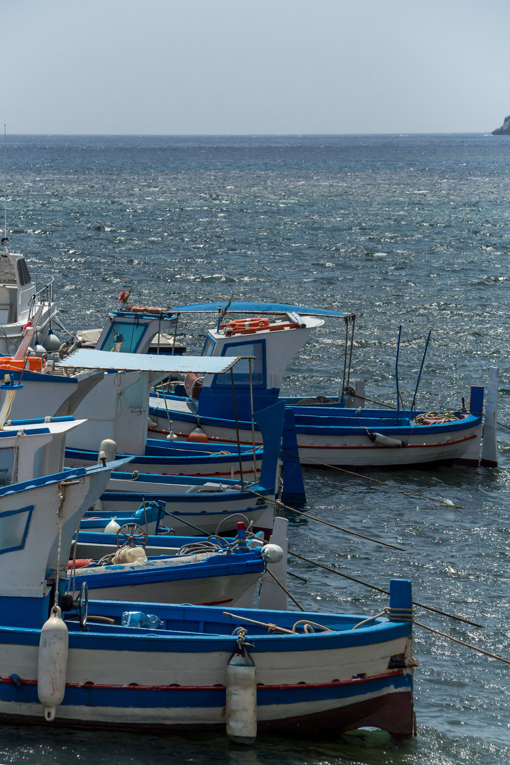 Colorful boats on Marettimo island, Sicily