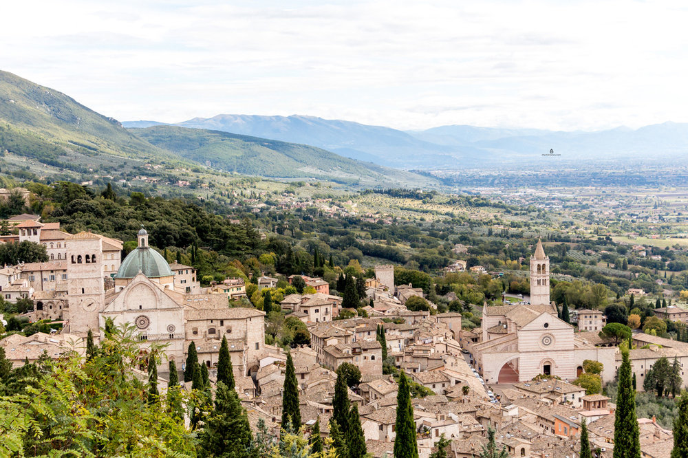 The views of Assisi, Italy