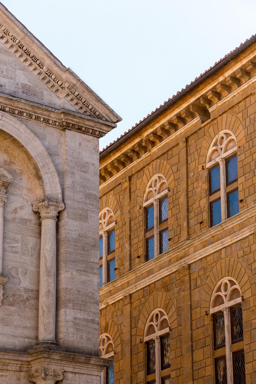 Palazzo Piccolomini and the Duomo in Pienza, Tuscany