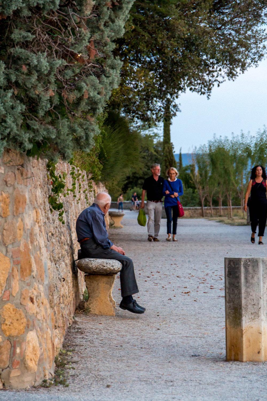 Evening passeggiata in Pienza, Tuscany