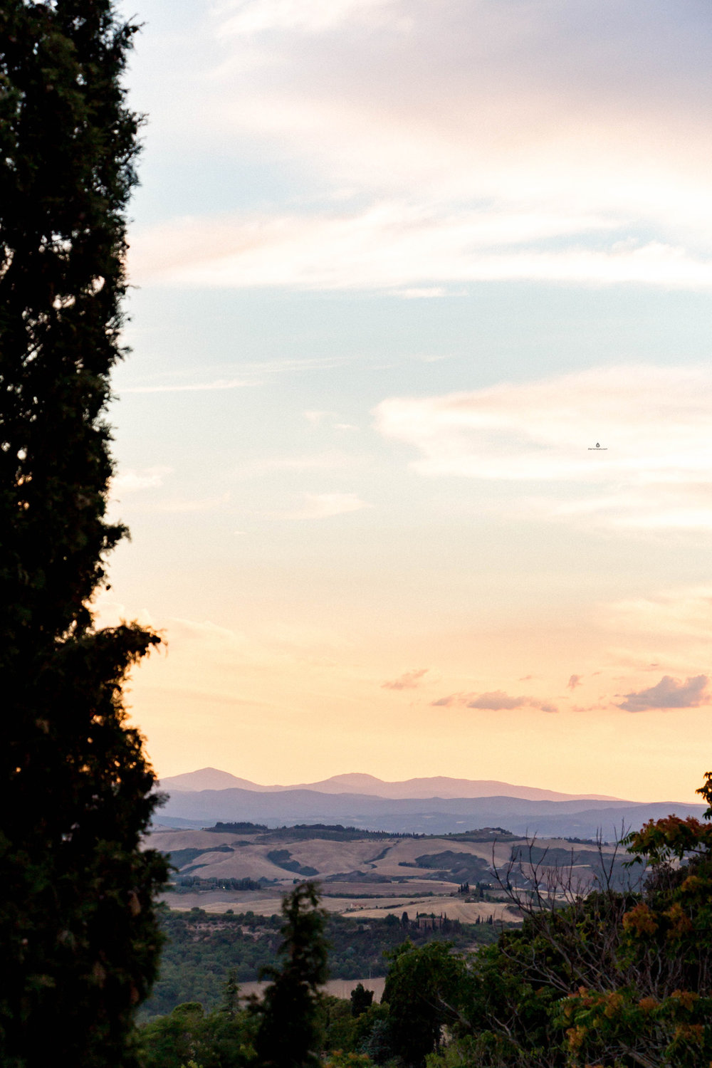 Val d'Orcia viewed from Pienza at sunset