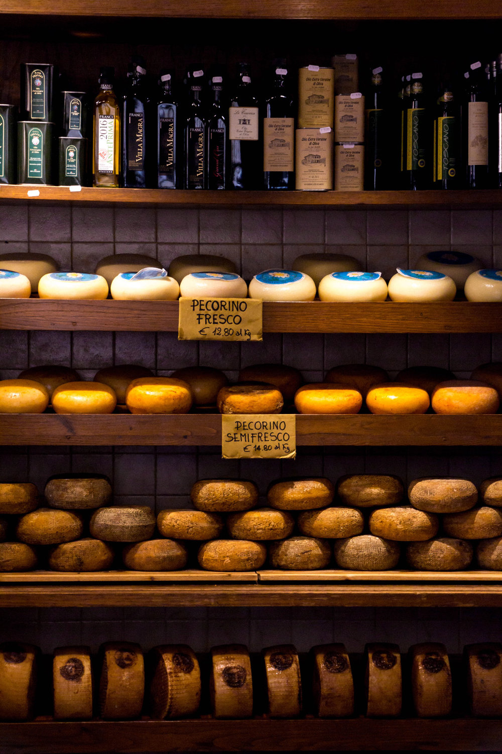 Cheese shop in Pienza, Tuscany