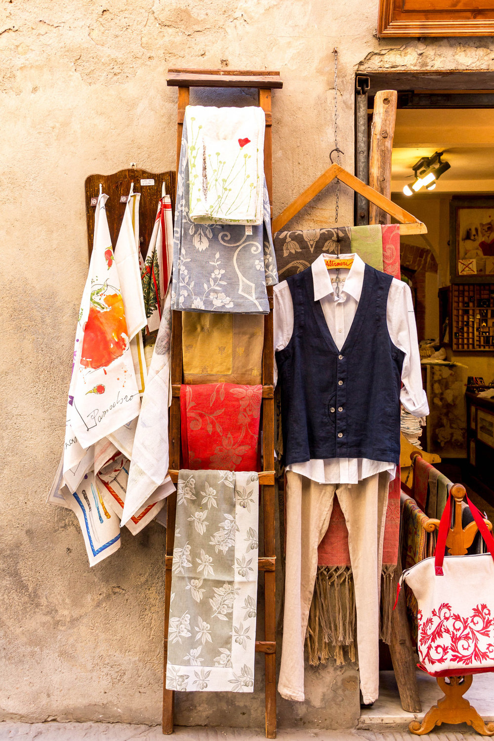 Linen shop in Pienza, Tuscany