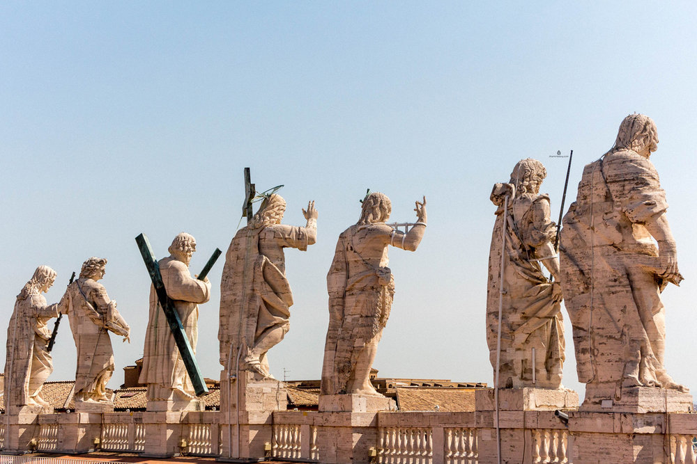 Sculptures on the facade of St. Peter's Basilica in Rome