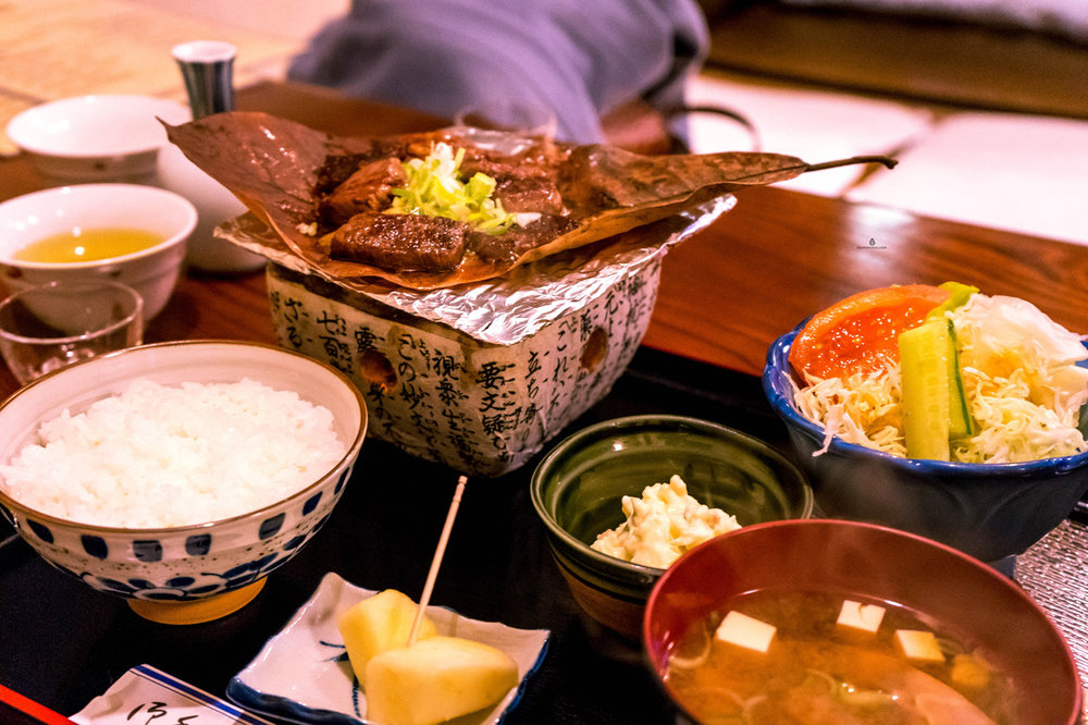 Traditional dinner of the Hida region