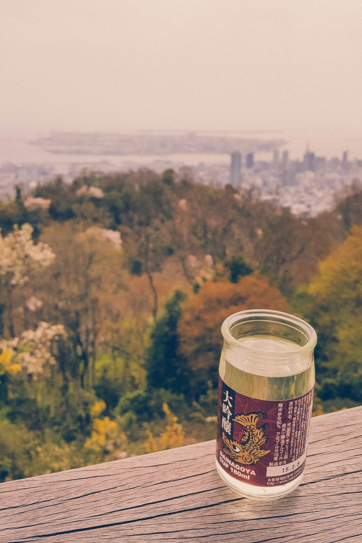 Sake with a view of Kobe, Japan