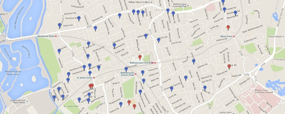 CLICK HERE to take you to a Google Map of the Walthamstow Food & Drink plaques pinned to their actual locations (Red pins denote houses that no longer exist)
