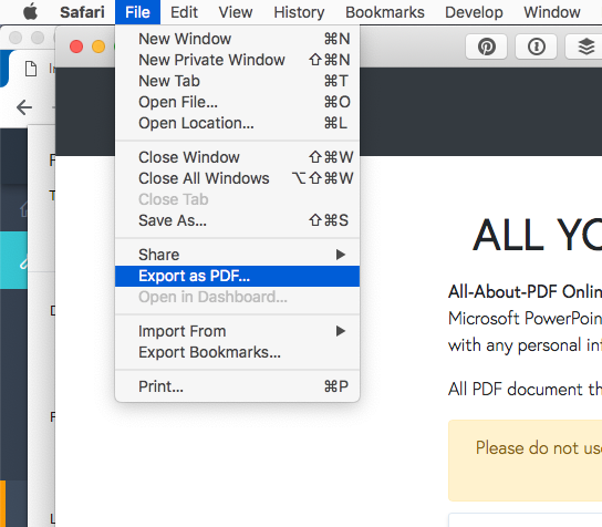 convert webpage to pdf using Safari Mac and macOS