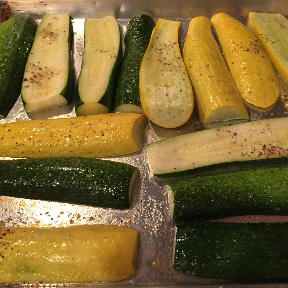 Oven-roasted zucchini and yellow squash