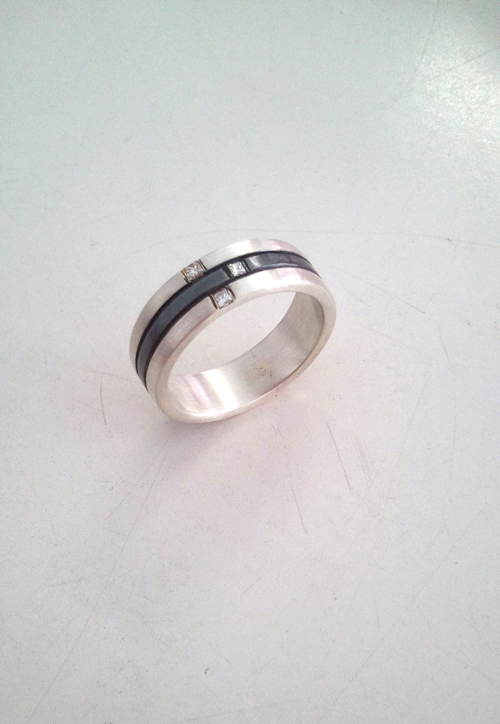 Silver and Oxidised Silver Ring with Illusion set Princess Cut Diamonds.jpg