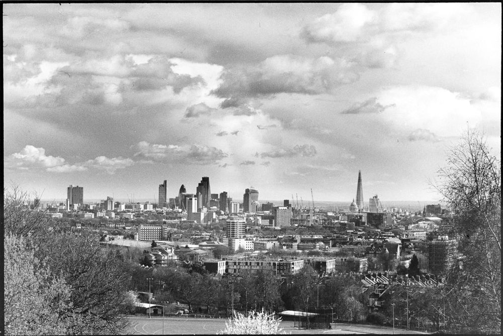 The View of the City of London from Parliament Hill, Hampstead Heath, March 2014.