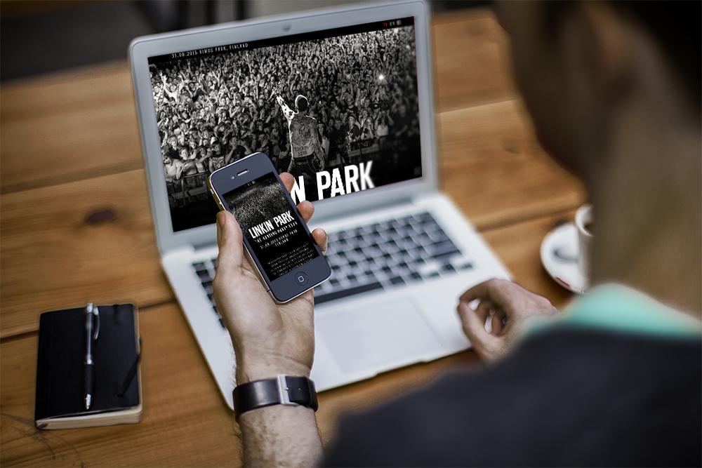 Linkin Park Himoksella responsiivisena tapahtumasivustona.