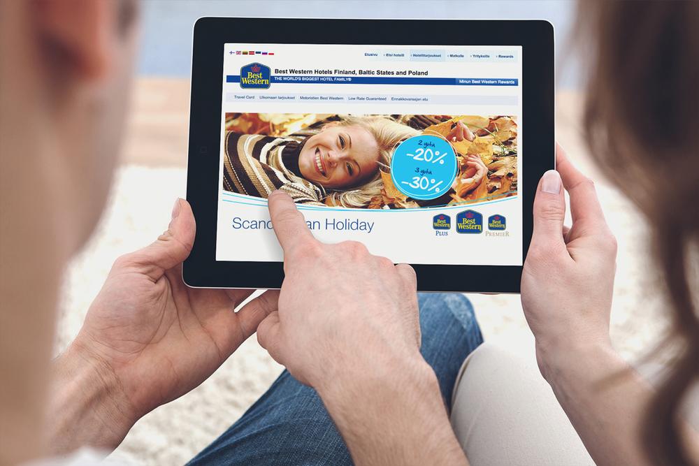 Best Western -hotelliketjun kampanjan digitaalinen mainos.