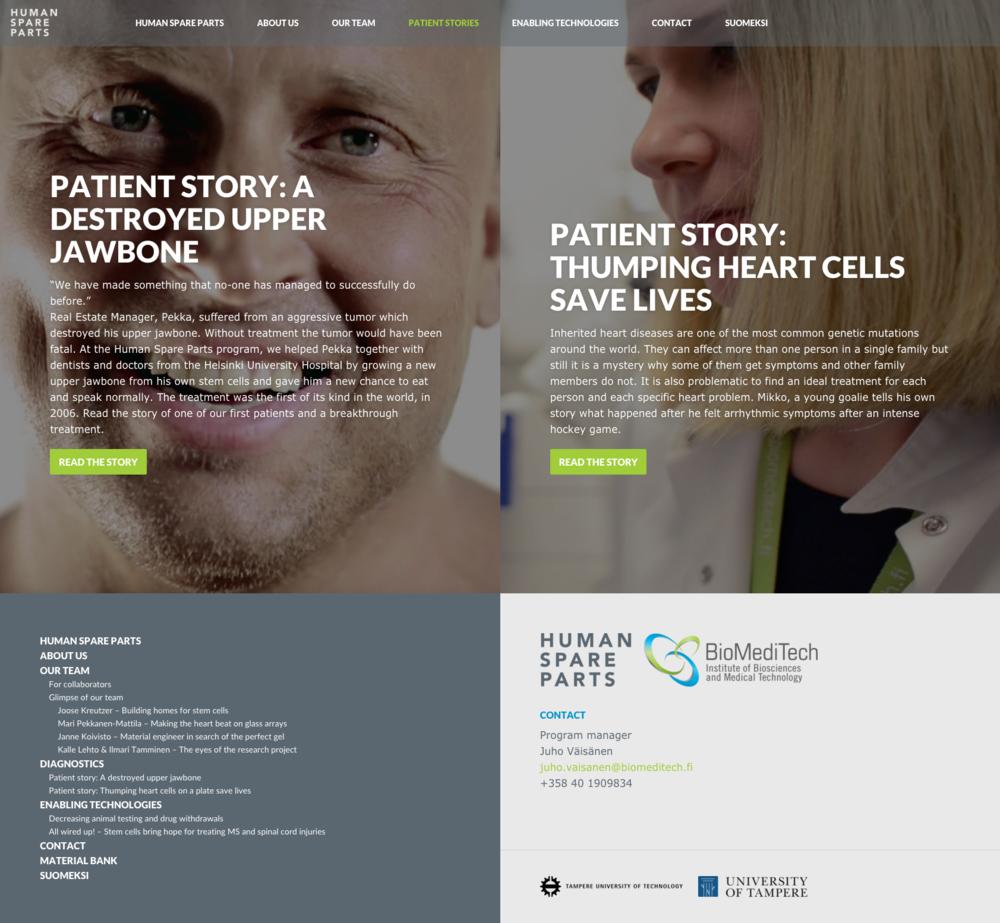 Potilastarinoissa esitellään kaksi potilasta, jotka ovat saaneet avun kantasoluhoidoista.