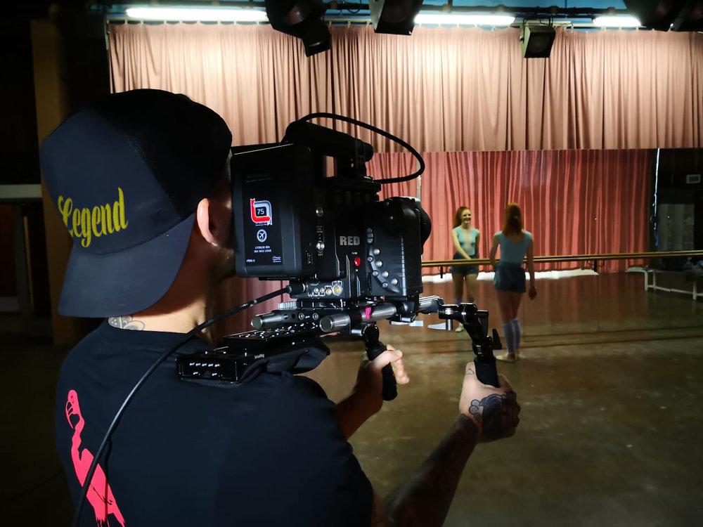 Videographer Jonathan Tait on set for Nivea.