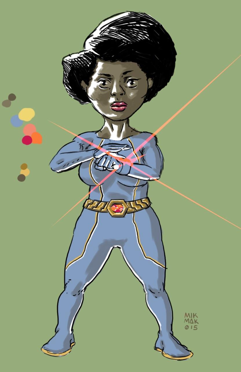 Afro Sentai woman. Sketch.