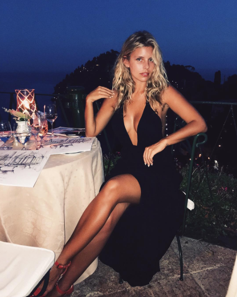 Tash Oakley enjoys the view from her dinner date,,,and so do we..