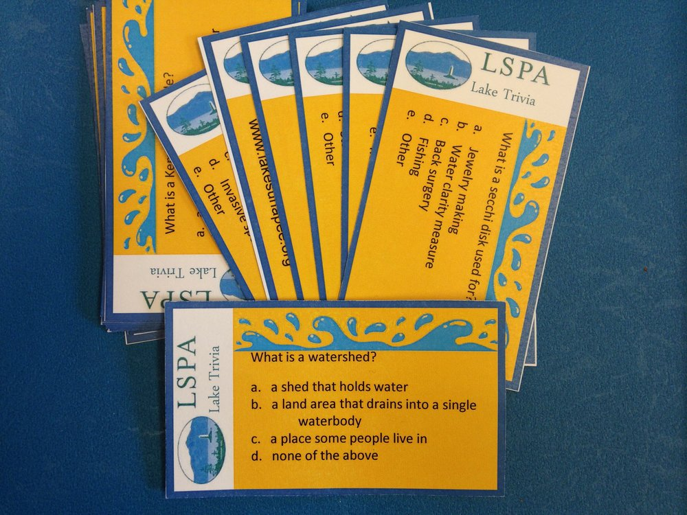Lake Sunapee Trivia Cards       Set of 48 cards $5.00 Cards                                      $1.00 clear blue plastic card holder                                                $5.00 wooden (walnut finish) card holder