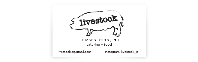 Livestock jc logo kristen kipilla logo and business card for jersey city based catering startup reheart Choice Image