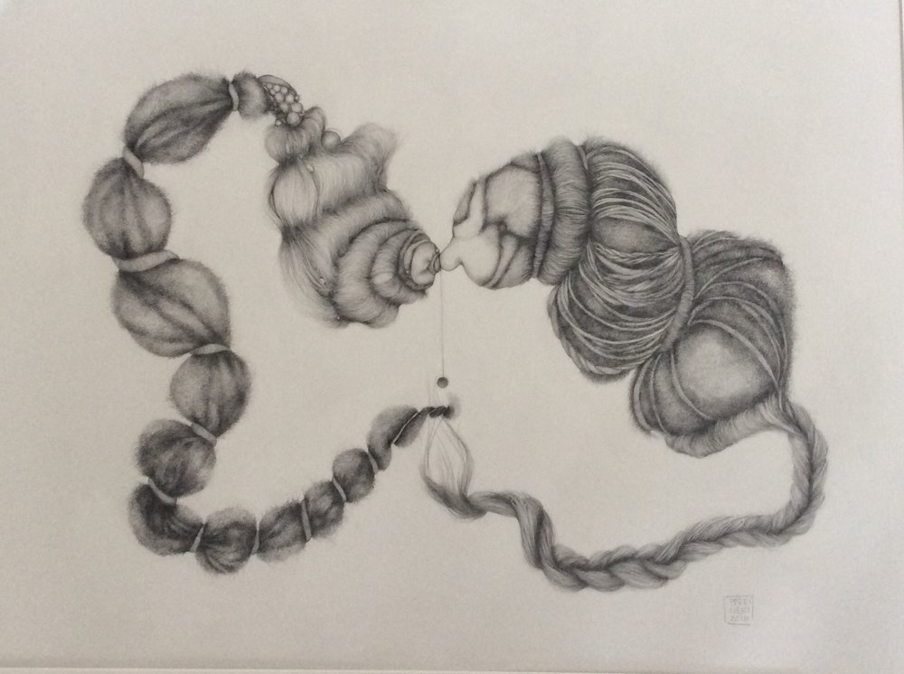 "Untitled for the Time Being, 2016, graphite on Arches paper, 26"" x 36""."