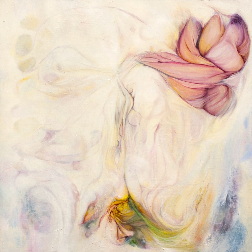 "Ribbons Undone, 2010, oil on canvas and magazine pages, 48"" x 48"""
