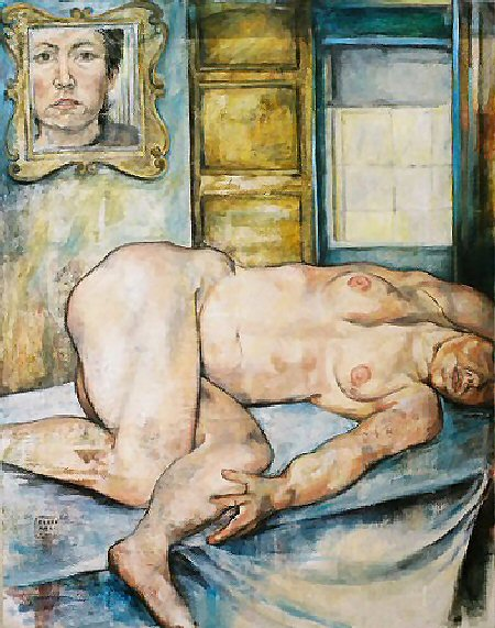 "Self Portrait with Nude, 2002, oil on canvas and newsprint, 40"" x 30"""