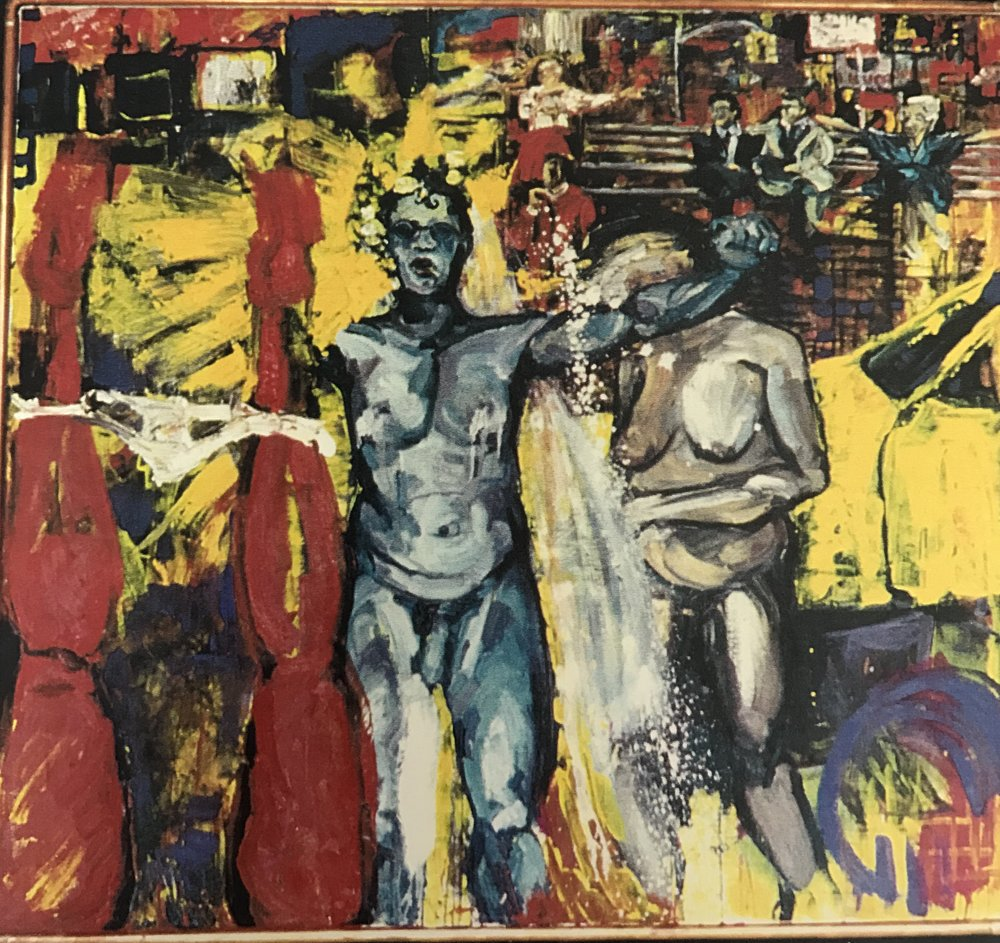 "A Wedding, 1991, oil on canvas, 48"" x 48"""