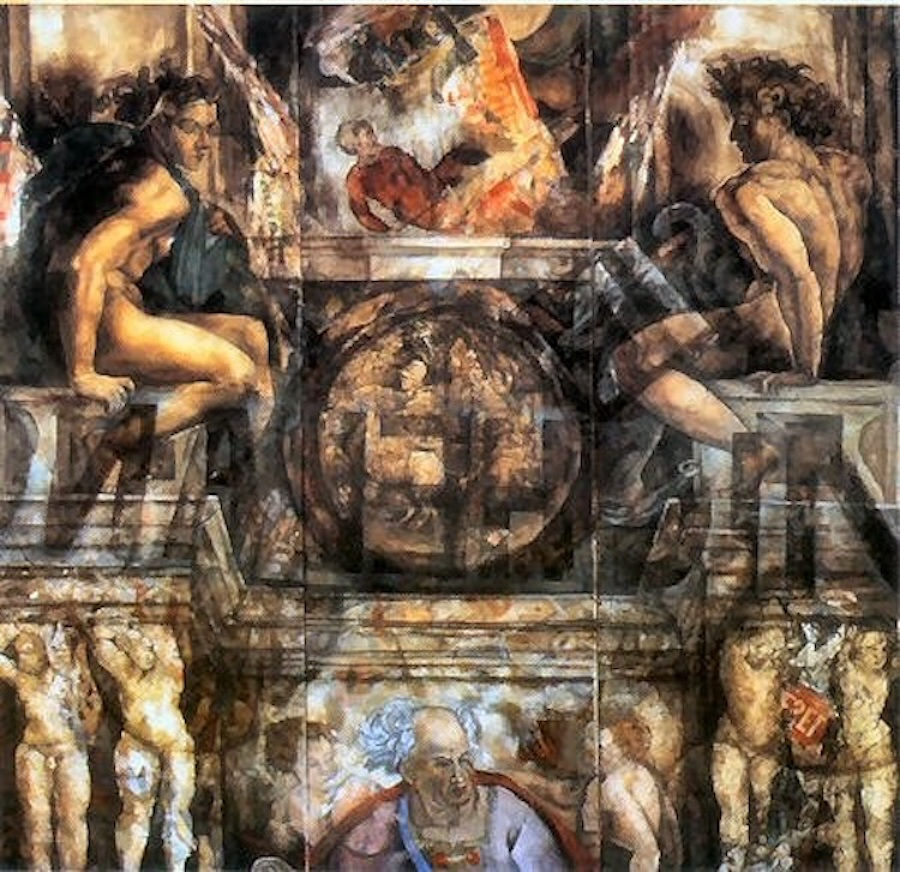"Michelangelo Project, 1998, oil on canvas and magazine pages, 75"" x 80"""