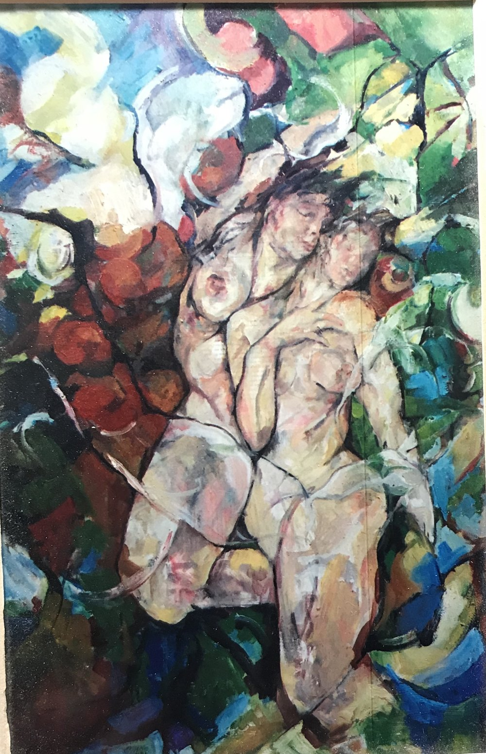 "Figures in a Landscape, 2003, oil on canvas and magazine pages, 36"" x 30"""