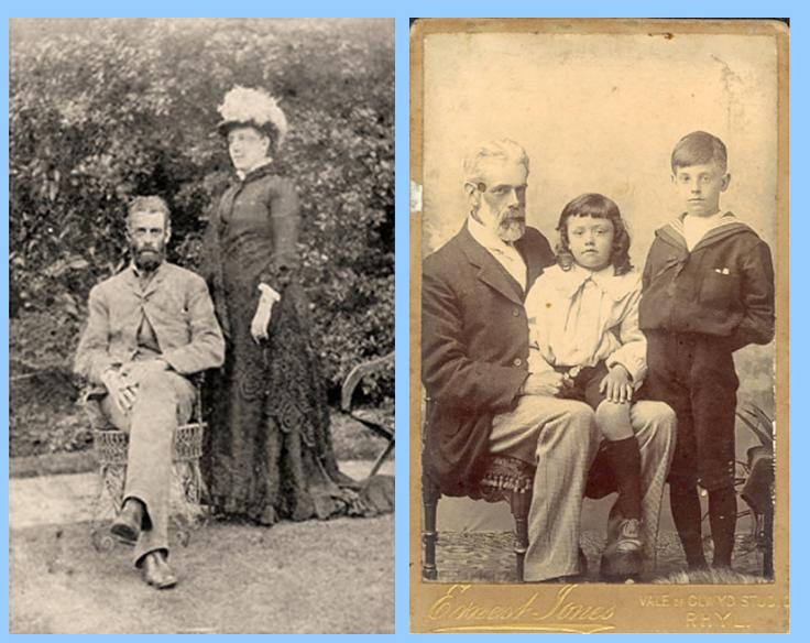 (Left image) Vincent's parents, (Right image) Walter Frank, vincent on his father's knee and Roy, his brother standing up.