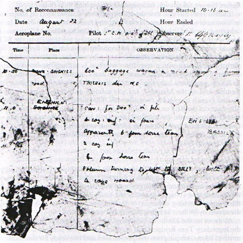 Remains of reconnaissance report from 22 August 1914 written by either Waterfall or Bayly.