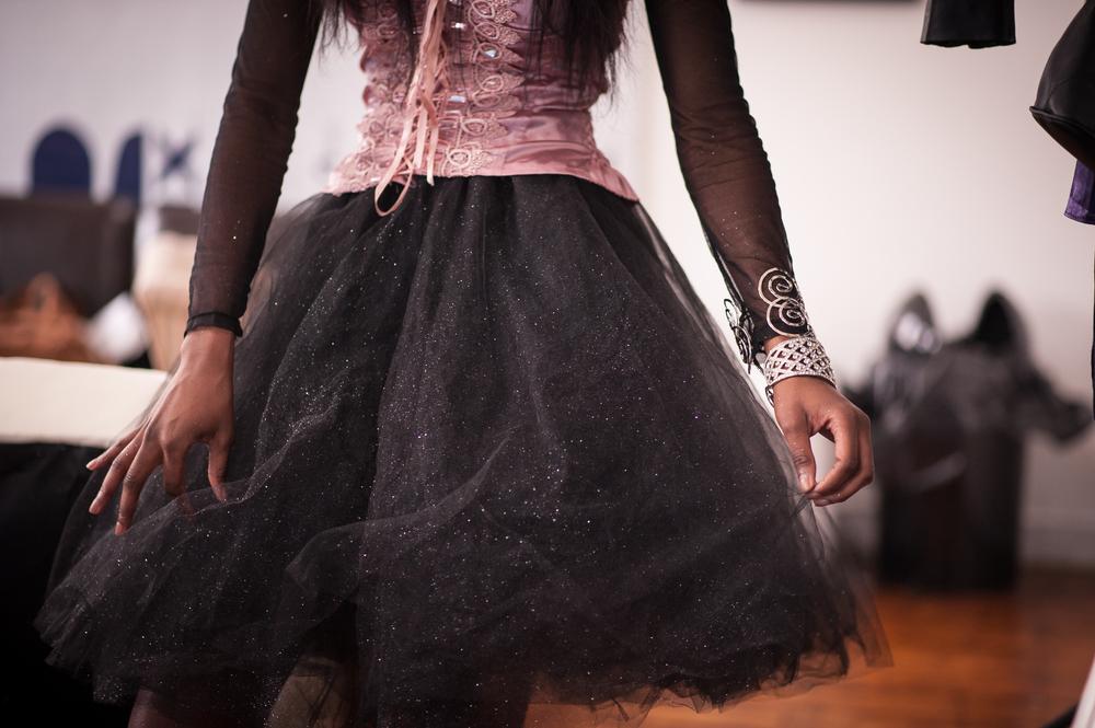 Details on Maris's girly- grunge prom ensemble, tutu designed by me!