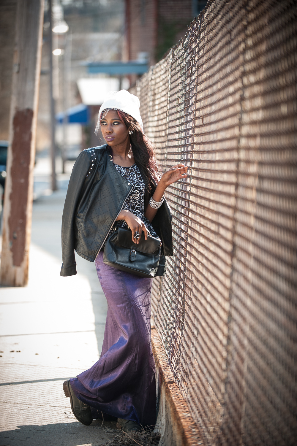 Back to Reality... The teen throws on grunge glam attire and heads back to the back alleys and abandoned buildings where her anti-social life takes place. Look 4: shimmer lace top, leather jacket with soft studs,violet ball skirt, combat boots, vintage leather bag andglitzy accessories.
