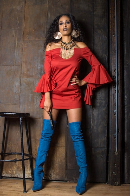 "Shop the Look: Shamika wears the bell sleeved ""Tina"" dress in burnt orange from It's Malacka's Makeup & Fashion Studio, Bebe fringe beaded necklace, gold plated earrings from Call it Spring,  and Sultry Touch Denim Thigh High Boots from Lola Shoetique."