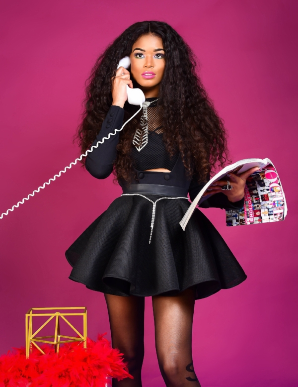 Offices of Slay, How may I help you?  Kanae is very busy in a  Nasty Gal Boss Move Asymmetric Blazer ,  black fishnet crop top ,  Mistress Rocks cameo skirt , dollar sign tights, vintage accessories.