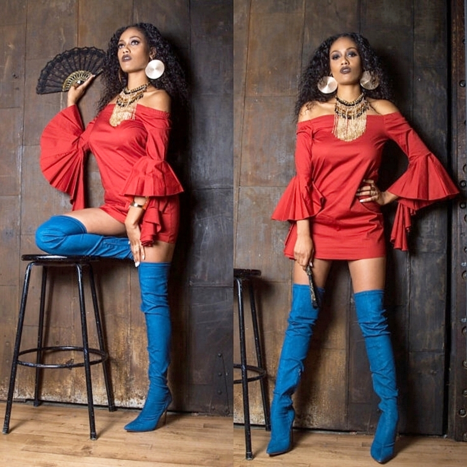 "Owning Her Space. Shamika wears the bell sleeved ""Tina"" dress in burnt orange from It's Malacka's Makeup & Fashion Studio, Bebe fringe beaded necklace, gold plated earrings from Call it Spring,  and Sultry Touch Denim Thigh High Boots from Lola Shoetique."